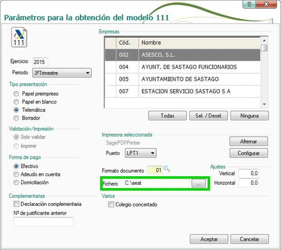 Presentaci n del modelo 111 con nominaplus alcatic - Aeat oficina virtual ...