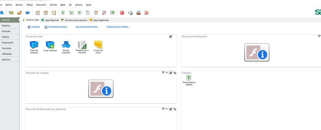 Adobe Flash Player en Sage FacturaPlus y ContaPlus